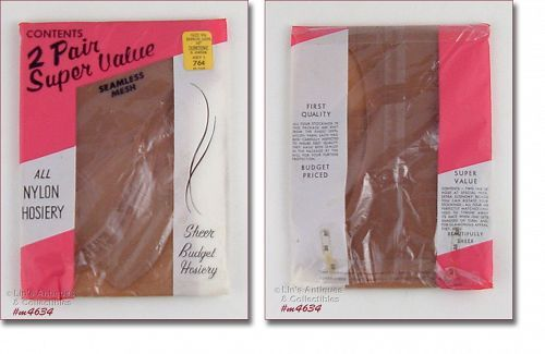 TWO PAIRS VINTAGE SEAMLESS STOCKINGS SIZE 9 ½ MINT IN PACKAGE