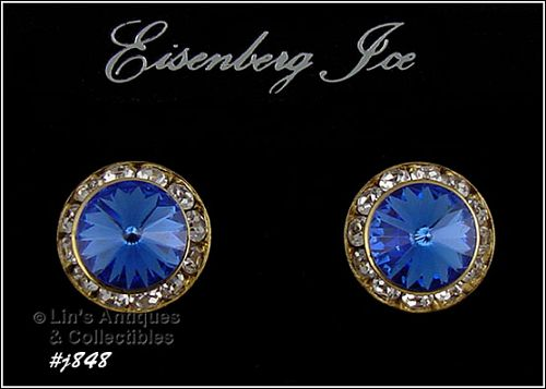 EISENBERG ICE PIERCED EARRINGS BLUE AND CLEAR RHINESTONES