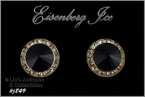 EISENBERG ICE PIERCED EARRINGS BLACK AND CLEAR RHINESTONES