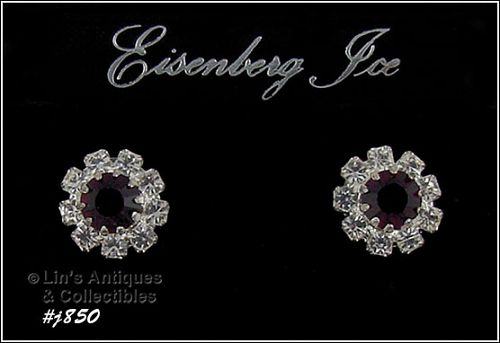 EISENBERG ICE � DARK RED AND CLEAR RHINESTONES PIERCED EARRINGS
