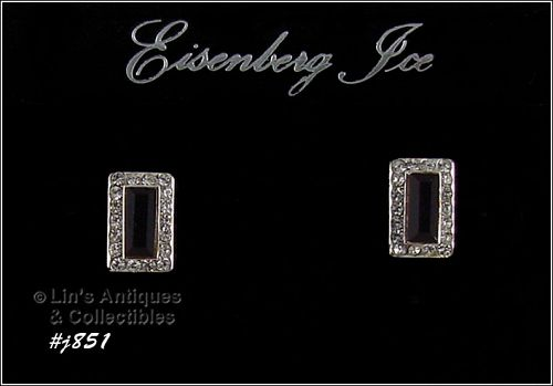 EISENBERG ICE PIERCED EARRINGS DARK RED WITH CLEAR RHINESTONES
