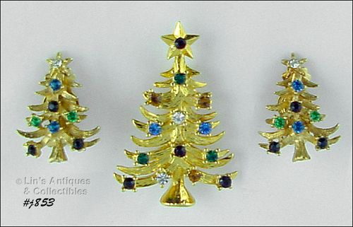 EISENBERG ICE CHRISTMAS TREE PIN WITH MATCHING CLIP BACK EARRINGS