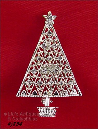 EISENBERG ICE � SILVER-TONE CHRISTMAS TREE PIN WITH CLEAR RHINESTONES