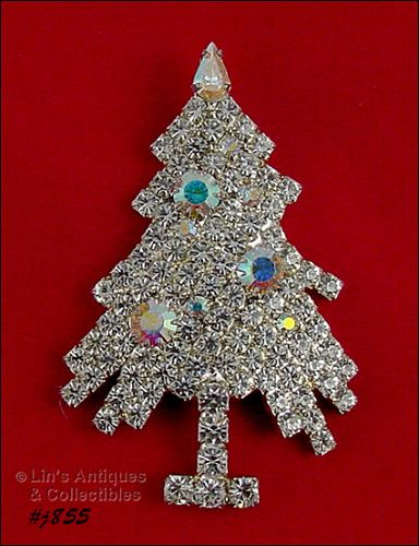 EISENBERG ICE � RHINESTONE SHAGGY CHRISTMAS TREE PIN (3 AVAILABLE)