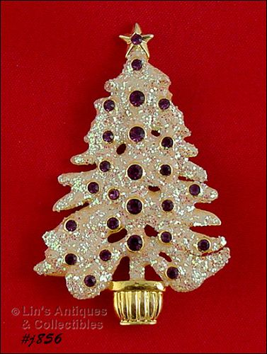 EISENBERG ICE CHRISTMAS TREE PIN WHITE GLITTER WITH PURPLE RHINESTONES