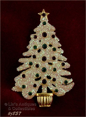 EISENBERG ICE TREE PIN WHITE GLITTER WITH RED AND GREEN RHINESTONES