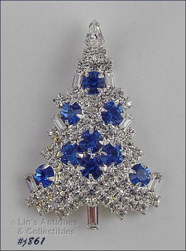 EISENBERG ICE � CLEAR WITH BLUE RHINESTONES CANDLE TREE PIN