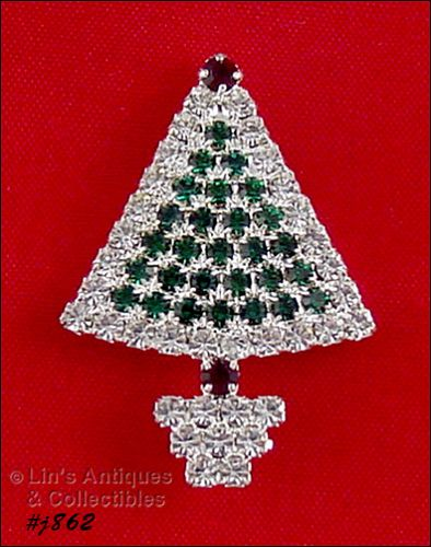EISENBERG ICE RHINESTONE COVERED SMALL CHRISTMAS TREE PIN