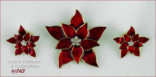 EISENBERG ICE � RED POINSETTIA PIN AND CLIP EARRINGS