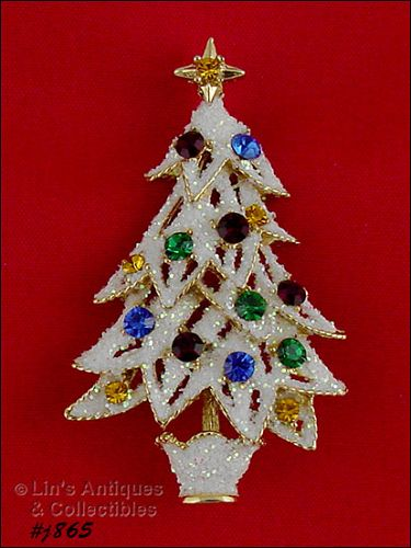 EISENBERG ICE GLITTER SNOW RHINESTONE CHRISTMAS TREE PIN