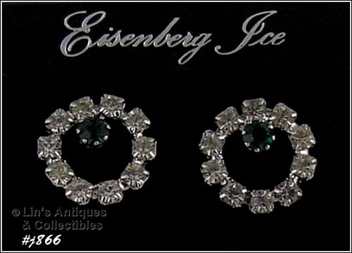 EISENBERG ICE CLEAR AND GREEN RHINESTONES PIERCED EARRINGS