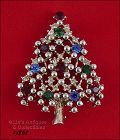 EISENBERG ICE CLASSIC TREE PIN SILVER TONE WITH MULTI COLOR RHINESTONE