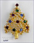 EISENBERG ICE CLASSIC TREE PIN GOLD TONE WITH MULTI COLOR RHINESTONES