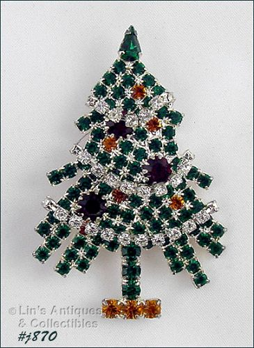 EISENBERG ICE � RHINESTONE CHRISTMAS TREE PIN WITH RHINESTONE GARLAND