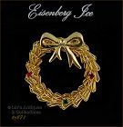 EISENBERG ICE WIRE WREATH PIN GOLD TONE WITH RHINESTONE ACCENTS