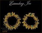 EISENBERG ICE PIERCED EARRINGS GOLD TONE WIRE WREATH WITH RHINESTONES