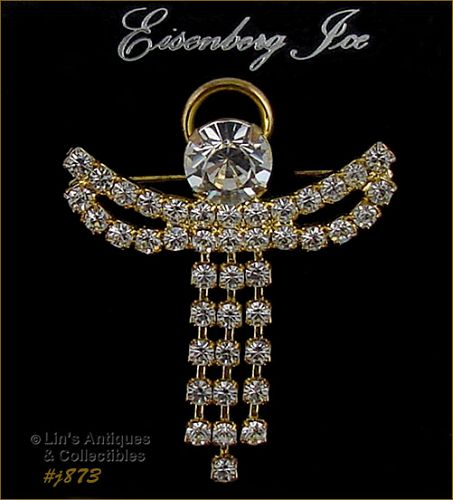 EISENBERG ICE � RHINESTONE ANGEL PIN ROBE DANGLES/HAS MOVEMENT