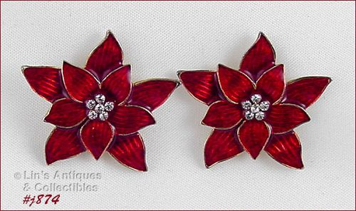 EISENBERG ICE � RED POINSETTIA PIERCED EARRINGS