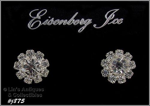 EISENBERG ICE � CLEAR RHINESTONES PIERCED EARRINGS