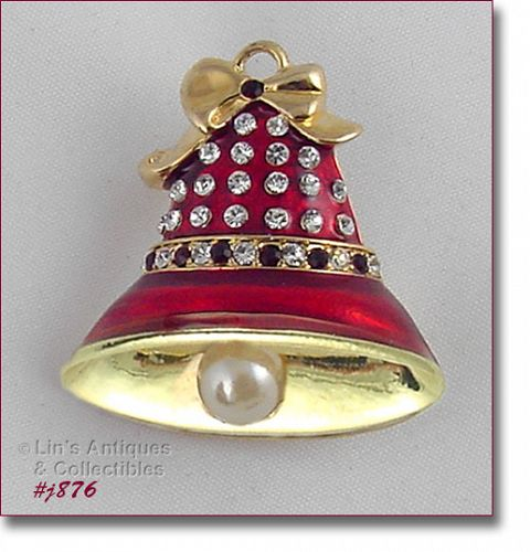 EISENBERG ICE � RED ENAMEL AND RHINESTONES BELL PIN (2 AVAILABLE)
