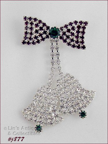 EISENBERG ICE PIN BOW WITH TWO BELL DANGLES COVERED WITH RHINESTONES