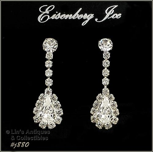 EISENBERG ICE � CLEAR RHINESTONES DANGLE PIERCED EARRINGS