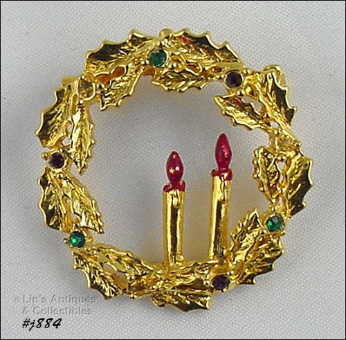 EISENBERG ICE GOLD TONE HOLLY LEAF WREATH SHAPED PIN