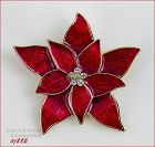 EISENBERG ICE � RED ENAMEL AND CLEAR RHINESTONES POINSETTIA PIN