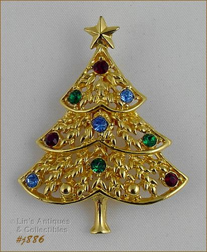 EISENBERG ICE � CHRISTMAS TREE PIN WITH MULTI COLOR RHINESTONES
