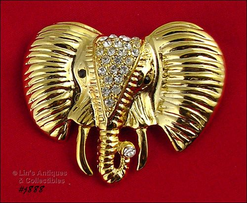 SIGNED EISENBERG ICE ELEPHANT HEAD PIN GOLD TONE WITH RHINESTONES