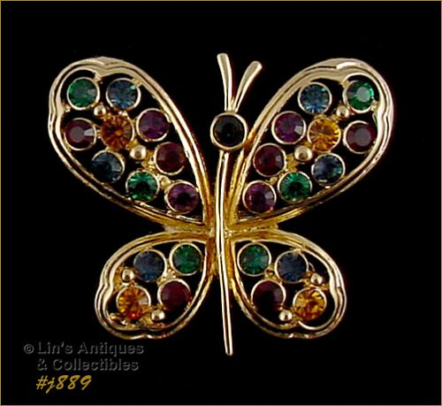 EISENBERG ICE BUTTERFLY PIN WITH MULTI COLOR RHINESTONES 3 AVAILABLE