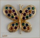 EISENBERG ICE � BUTTERFLY PIN WITH MULTI-COLOR RHINESTONES