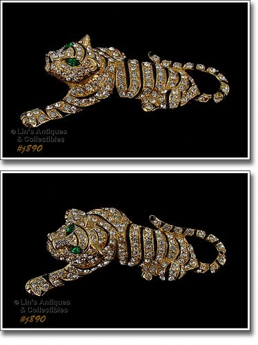 SIGNED EISENBERG ICE FULL FIGURE TIGER PIN GOLD TONE WITH RHINESTONES
