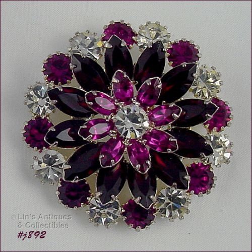 EISENBERG ICE RED PINK AND CLEAR PRONG SET RHINESTONES ROUND PIN