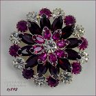 EISENBERG ICE RED PINK AND CLEAR RHINESTONES CIRCLE PIN