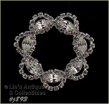 EISENBERG ICE � CLEAR PRONG-SET RHINESTONES CIRCLE PIN (2 AVAILABLE)