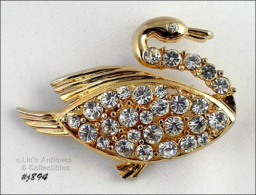 EISENBERG ICE � GOLD-TONE WITH RHINESTONES SWIMMING SWAN PIN