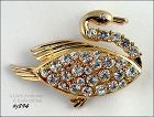 EISENBERG ICE SWIMMING SWAN PIN GOLD TONE WITH RHINESTONES
