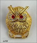EISENBERG ICE SMALL OWL SHAPED PIN GOLD TONE WITH RHINESTONES