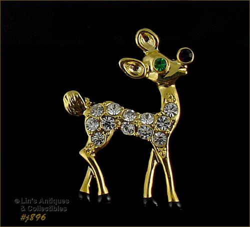 EISENBERG ICE � GOLD-TONE WITH RHINESTONES YOUNG RUDOLPH PIN