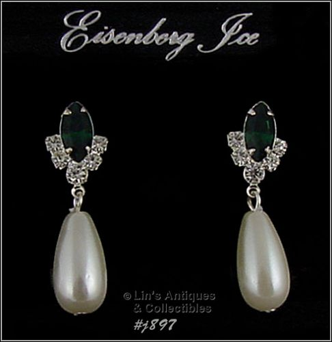 EISENBERG ICE � RHINESTONES WITH FAUX PEARL DANGLE PIERCED EARRINGS