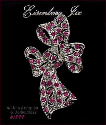 EISENBERG ICE BOW SHAPED PIN SILVER TONE WITH PINK RHINESTONES 3 AVAIL