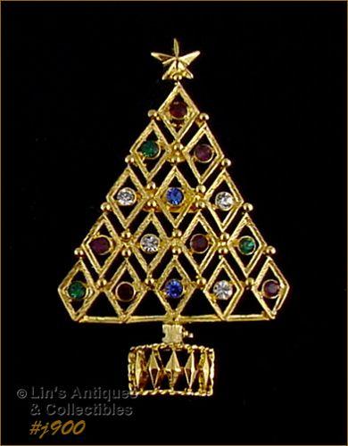 EISENBERG ICE CHRISTMAS TREE PIN WITH MULTI COLOR RHINESTONES 4 Avail.