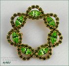 EISENBERG ICE CIRCLE PIN WITH PRONG SET GREEN RHINESTONES 4 Available