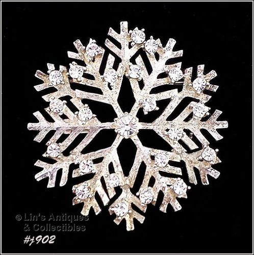 EISENBERG ICE SNOWFLAKE PIN SILVER TONE WITH CLEAR RHINESTONES
