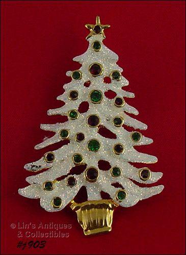 EISENBERG ICE WHITE GLITTER TREE WITH RED AND GREEN RHINESTONES