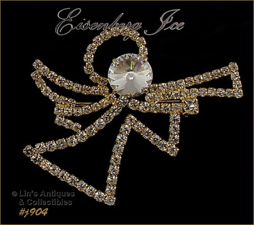 EISENBERG ICE RHINESTONE ANGEL WITH TRUMPET GOLD TONE PIN 2 AVAIL.