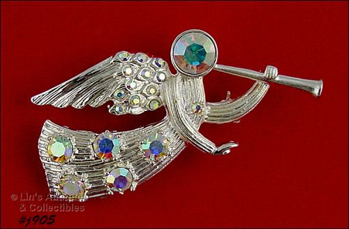 EISENBERG ICE RHINESTONES TRUMPETING ANGEL SILVER TONE PIN 2 AVAIL.