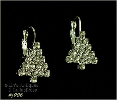 EISENBERG ICE CHRISTMAS TREE RHINESTONE SILVER TONE PIERCED EARRINGS