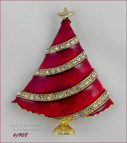 EISENBERG ICE RED ENAMEL AND CLEAR RHINESTONES CHRISTMAS TREE PIN
